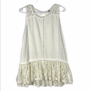 Free People Ivory Linen Cotton Blend Lacy Tank